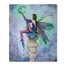 Conersation with the Moon Fairy Art Throw Blanket