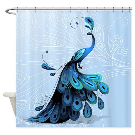 elegant peacock shower curtain