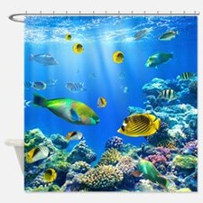 Tropical fish shower curtains tropical fish fabric for Tropical fish shower curtain