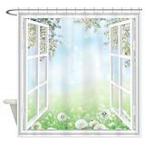 Flower window Shower Curtains
