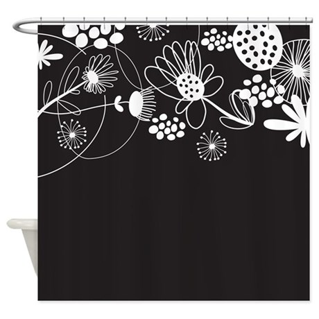 Black And White Floral Shower Curtain By BestShowerCurtains