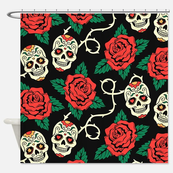 Skulls And Roses Shower Curtain
