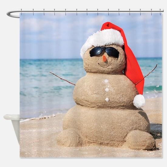 Beach Snowman Shower Curtain