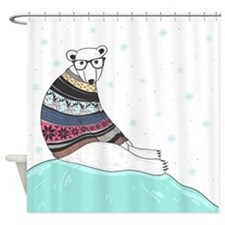 Hipster Polar Bear Shower Curtain