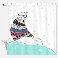Hipster Polar Bear Shower Curtain