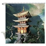 Asian temple Shower Curtains