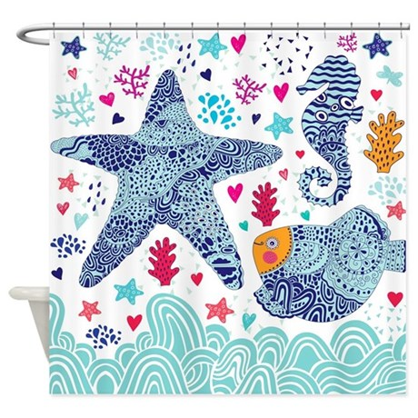 Whimsical Sea Life Shower Curtain