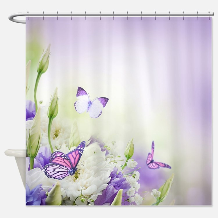 butterfly shower curtains purple butterfly fabric shower curtain