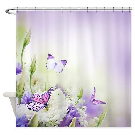 Flowers And Butterflies Shower Curtain