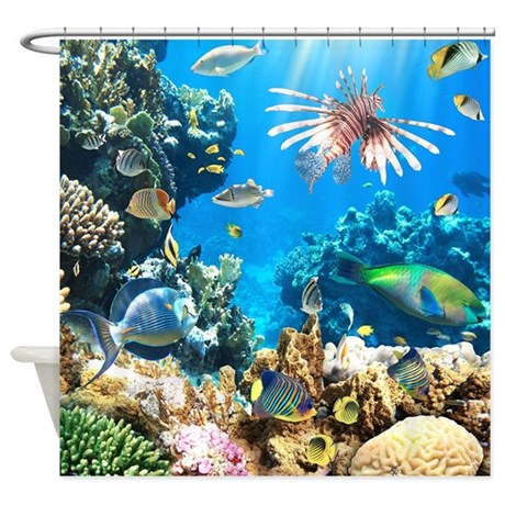 Tropical fish shower curtain by bestshowercurtains for Tropical fish shower curtain