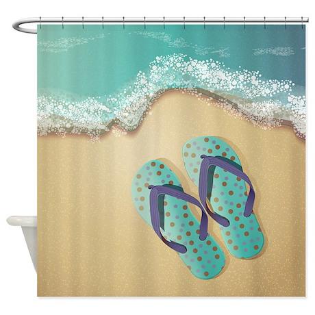 Attractive Flip Flops Shower Curtain  Flip Flop Shower Curtain