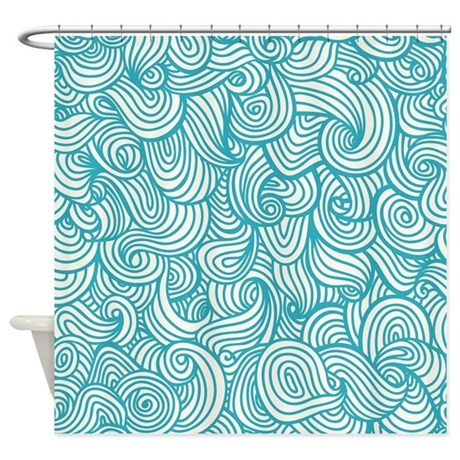 Waves Pattern Shower Curtain By BestShowerCurtains