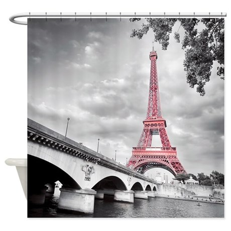 Exceptional Pink Eiffel Tower Shower Curtain