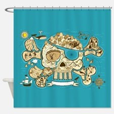 Treasure Map Shower Curtain