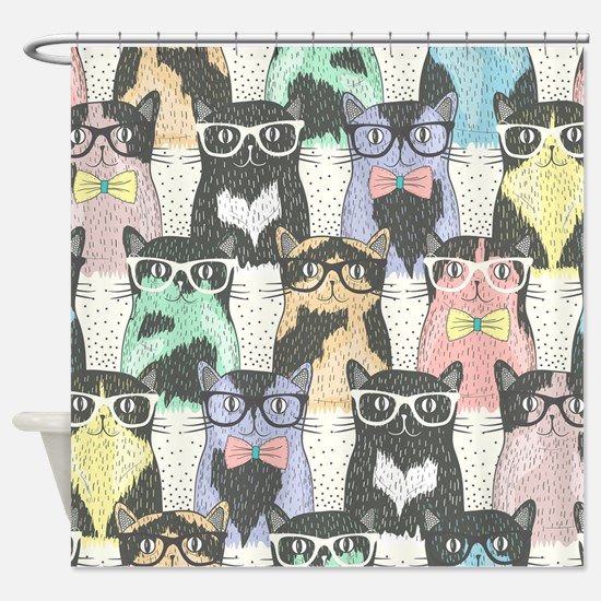 Hipster Cats Shower Curtain