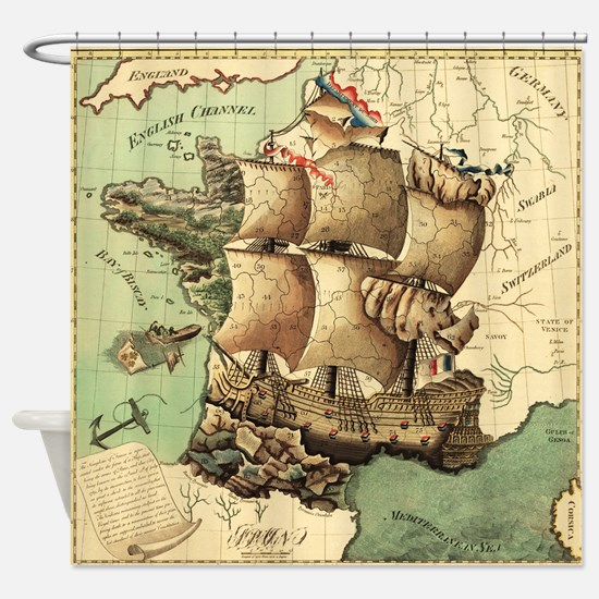 Ancient Map Shower Curtain