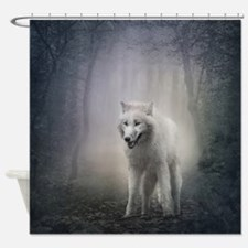 White Wolf Shower Curtain