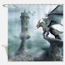 Tower Dragons Shower Curtain
