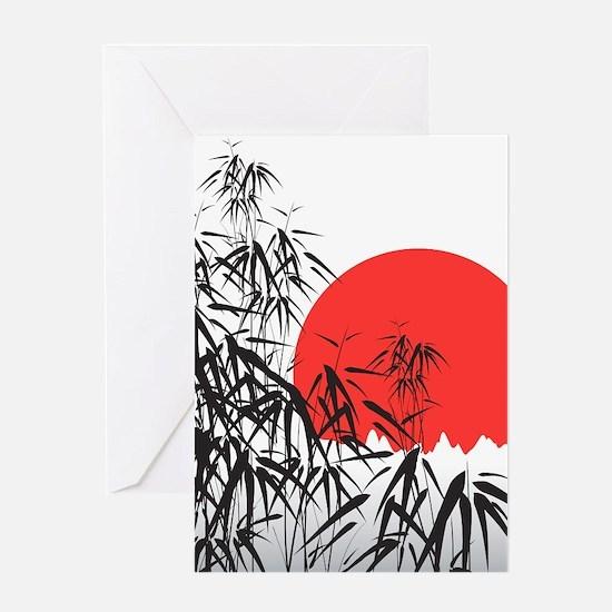 Asian Sunset Greeting Cards