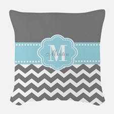 Gray Blue Chevron Personalized Woven Throw Pillow