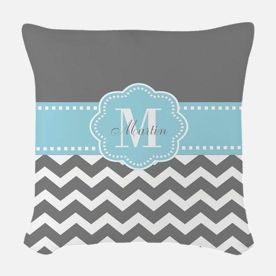 Gray Blue Chevron Personalized Woven Throw Pillow