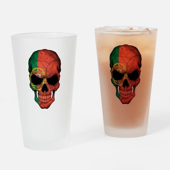 Portuguese Flag Skull Drinking Glass