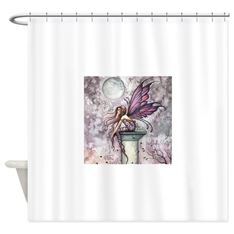 The lookout fairy fantasy art shower curtain by robmolily for Fantasy shower curtains