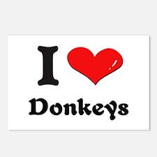 I love donkeys  Postcards (Package of 8)
