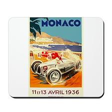 Antique 1936 Monaco Grand Prix Auto Race Poster Mo
