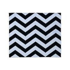 Black and Blue Chevron Stripes Throw Blanket