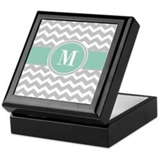 Gray Mint Chevron Monogram Keepsake Box