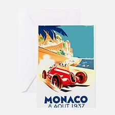 Antique 1937 Monaco Grand Prix Auto Race Poster Gr