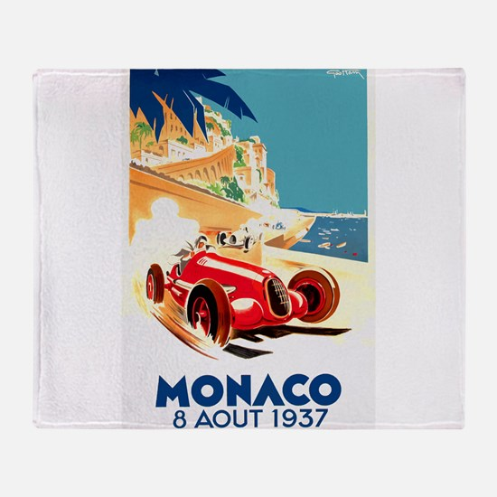 Antique 1937 Monaco Grand Prix Auto Race Poster Th
