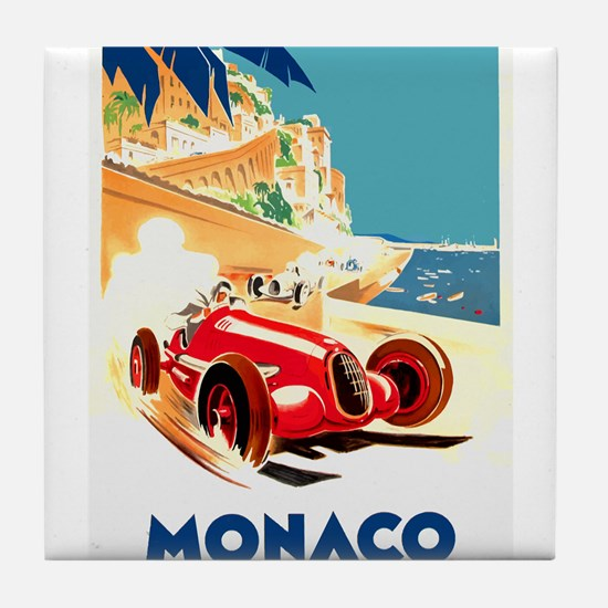 Antique 1937 Monaco Grand Prix Auto Race Poster Ti