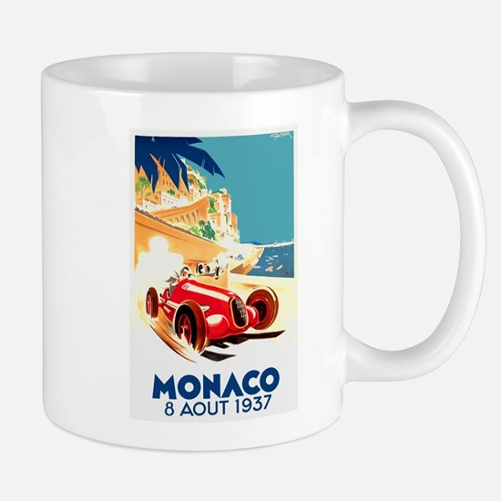 Antique 1937 Monaco Grand Prix Auto Race Poster Mu