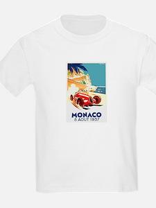 Antique 1937 Monaco Grand Prix Auto Race Poster T-