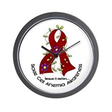 Sickle Cell Anemia FlowerRibbon1.1 Wall Clock