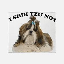 I shit you not Shih Tzu Pun Throw Blanket