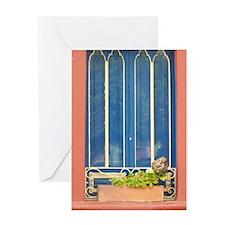 Blue Window Greeting Cards