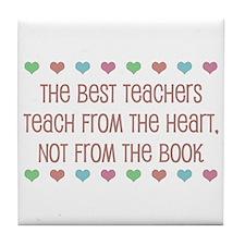 Teach With Hearts Tile Coaster