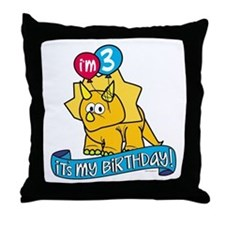 3rd Birthday Dinosaur Throw Pillow