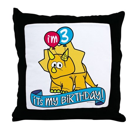 3rd Birthday Dinosaur Throw Pillow