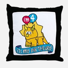4th Birthday Dinosaur Throw Pillow