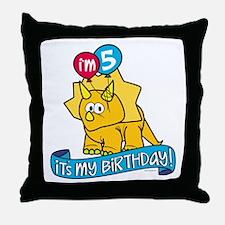 5th Birthday Dinosaur Throw Pillow
