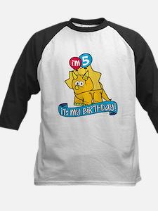 5th Birthday Dinosaur Kids Baseball Jersey