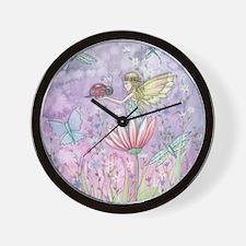 A Friendly Encounter Fairy and Ladybug Wall Clock