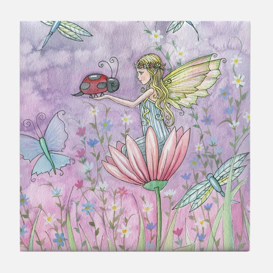 A Friendly Encounter Fairy and Ladybu Tile Coaster