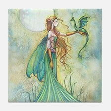 Discipline Fairy and Dragon Fantasy Art Tile Coast