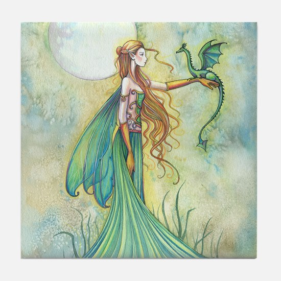 Discipline Fairy and Dragon Fantasy Art Tile Coast