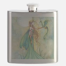 Discipline Fairy and Dragon Fantasy Art Flask